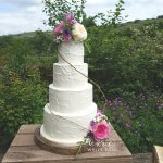extured Buttercfream Four Tier Wedding Cake with Flowers from the Garden Slaithwaite Huddersfield