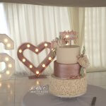 Three Tier Ruffles and Rose Gold Wedding Cake Harry Potter Theme by White Rose Cake Design in West Yorkshire