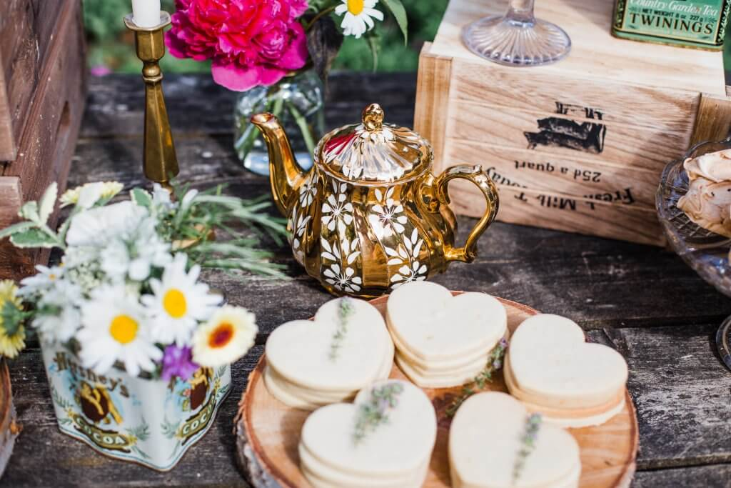 Dessert Table Cookies - Colourful Rustic DIY Wedding in Huddersfield - White Rose Cake Design Luxury Wedding Cakes