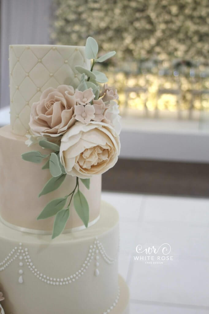 Sugar Peonies and Leaves - Elegant Five Tier Wedding Cake with Peach & Nude Flowers by White Rose Cake Design Luxury Cakes West Yorkshire