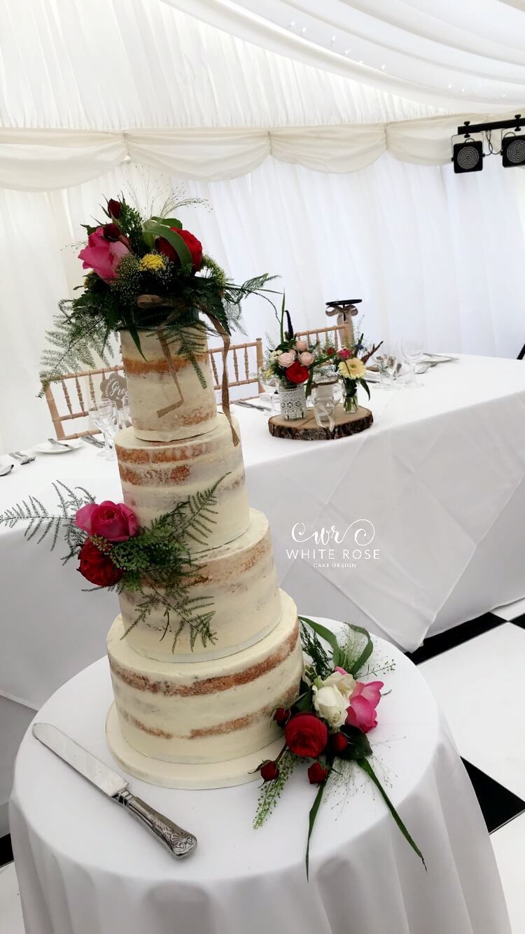 Four Tier Semi-Naked Wedding Cake with Fresh Flowers by White Rose ...