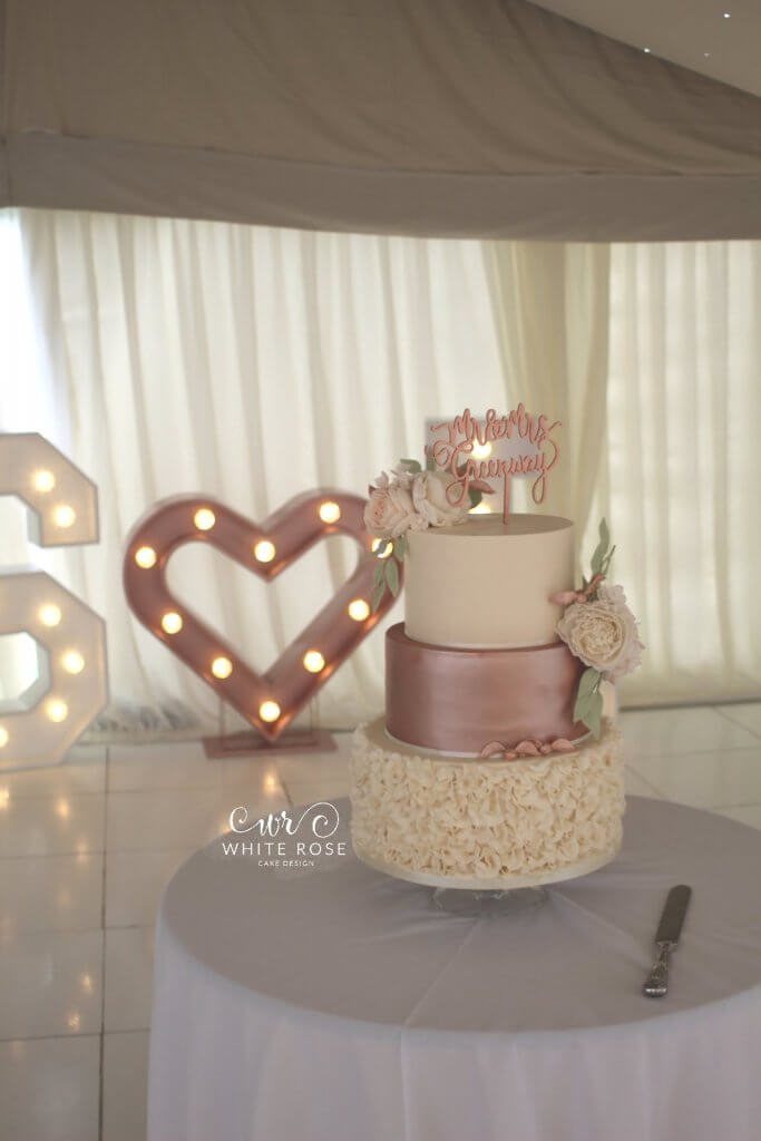 Peach and Rose Gold Marquee Wedding with a Harry Potter Themed Wedding Cake