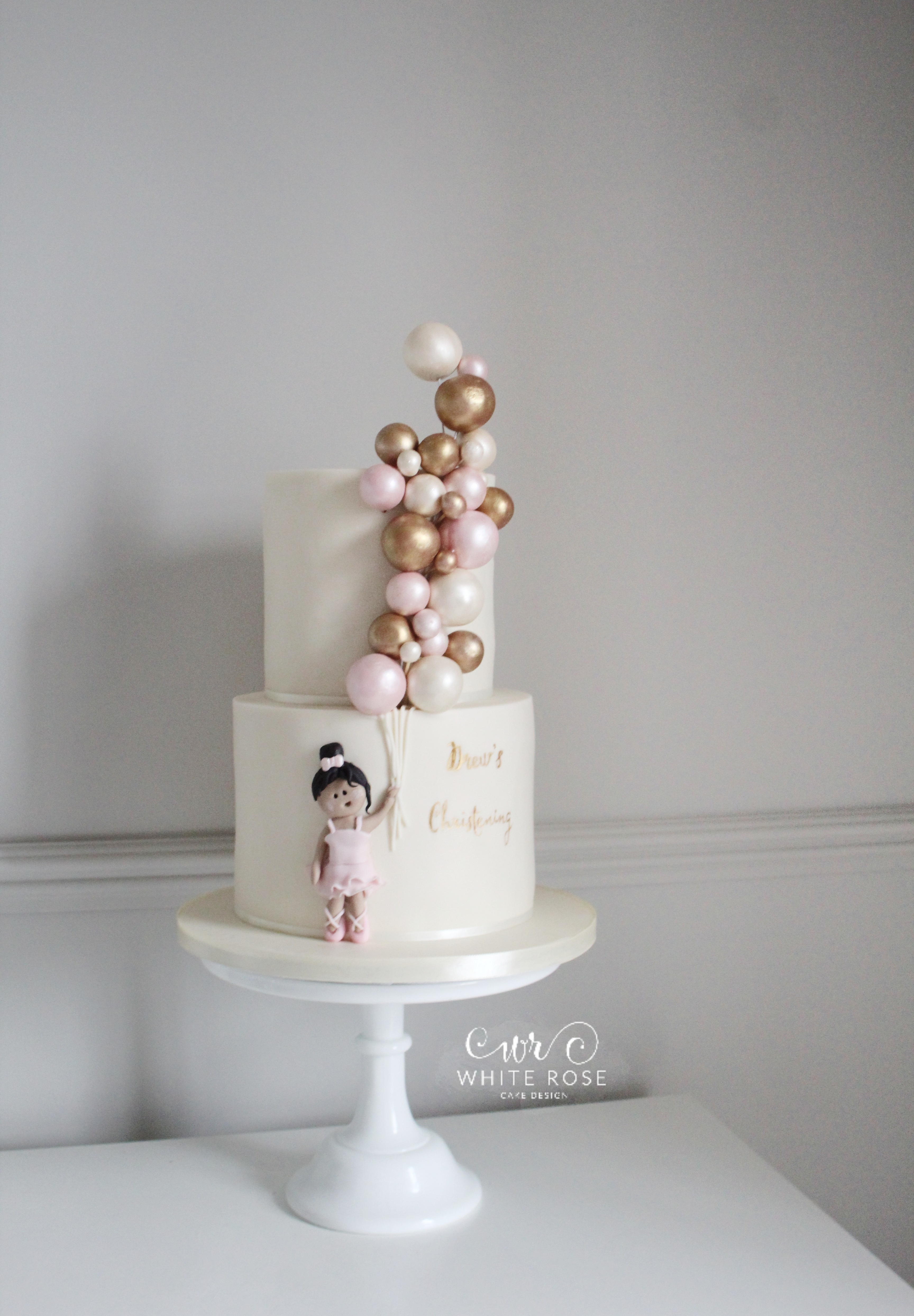 Pink and Gold Balloons Christening Cake by White Rose Cake Design in Holmfirth