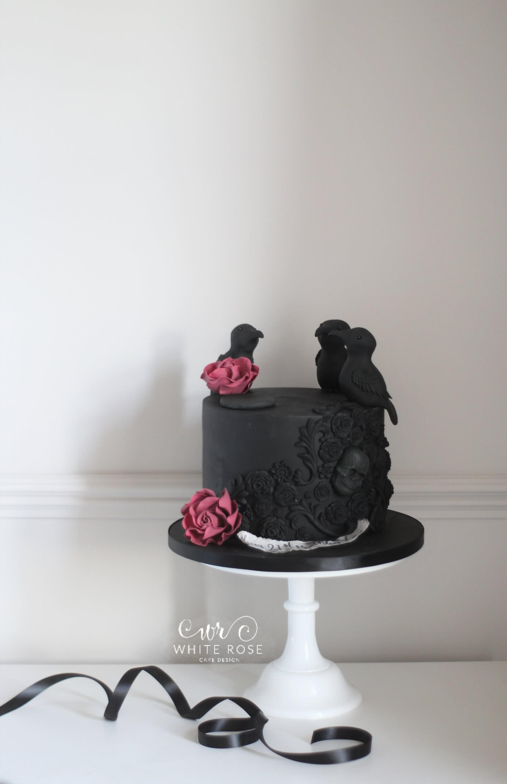 lack Gothic 21st Birthday Cake with Skulls and Crows by White Rose Cake Design - Birthday Cakes in Holmfirth and Huddersfield
