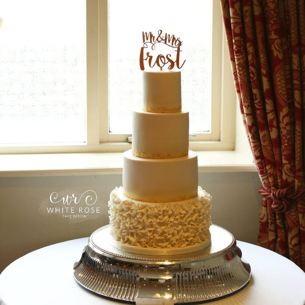 Ivory and Gold Ruffles Four Tier Wedding Cake by White Rose Cake Design, Cake Maker in Holmfirth, Huddersfield West Yorkshire