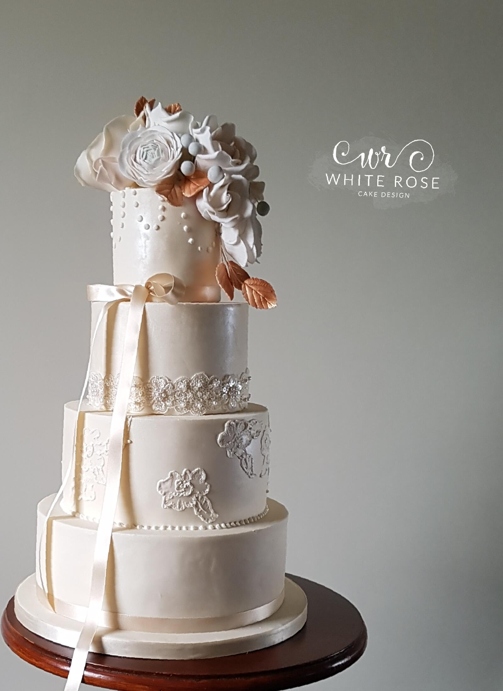 Lace, Copper and Blush Pink Roses Four Tier Wedding Cake by White Rose Cake Design, Cake Maker in Holmfirth, Huddersfield West Yorkshire