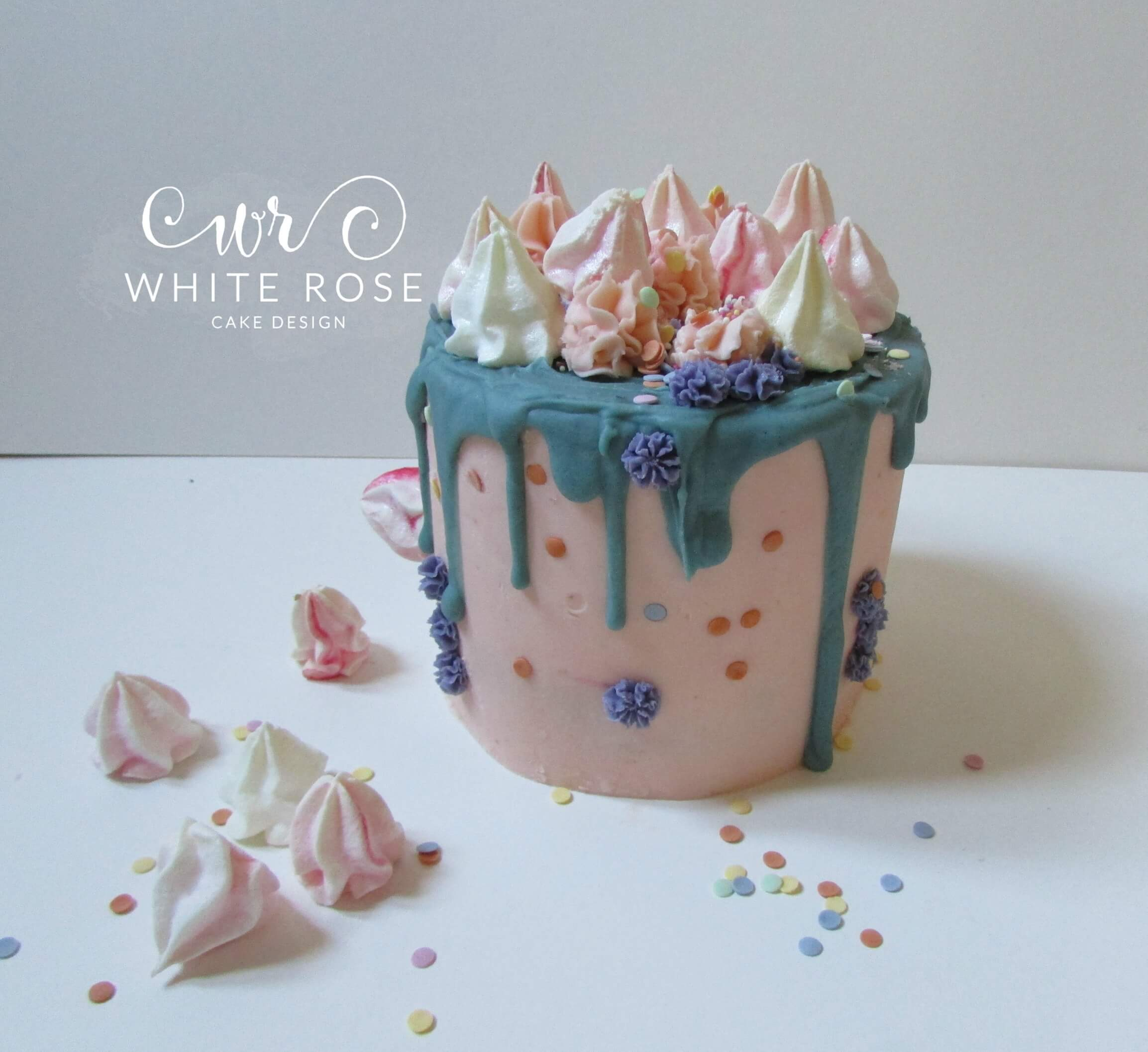 Single Tier Drippy Birthday Cake with Meringue Kisses Huddersfield Cake Maker3