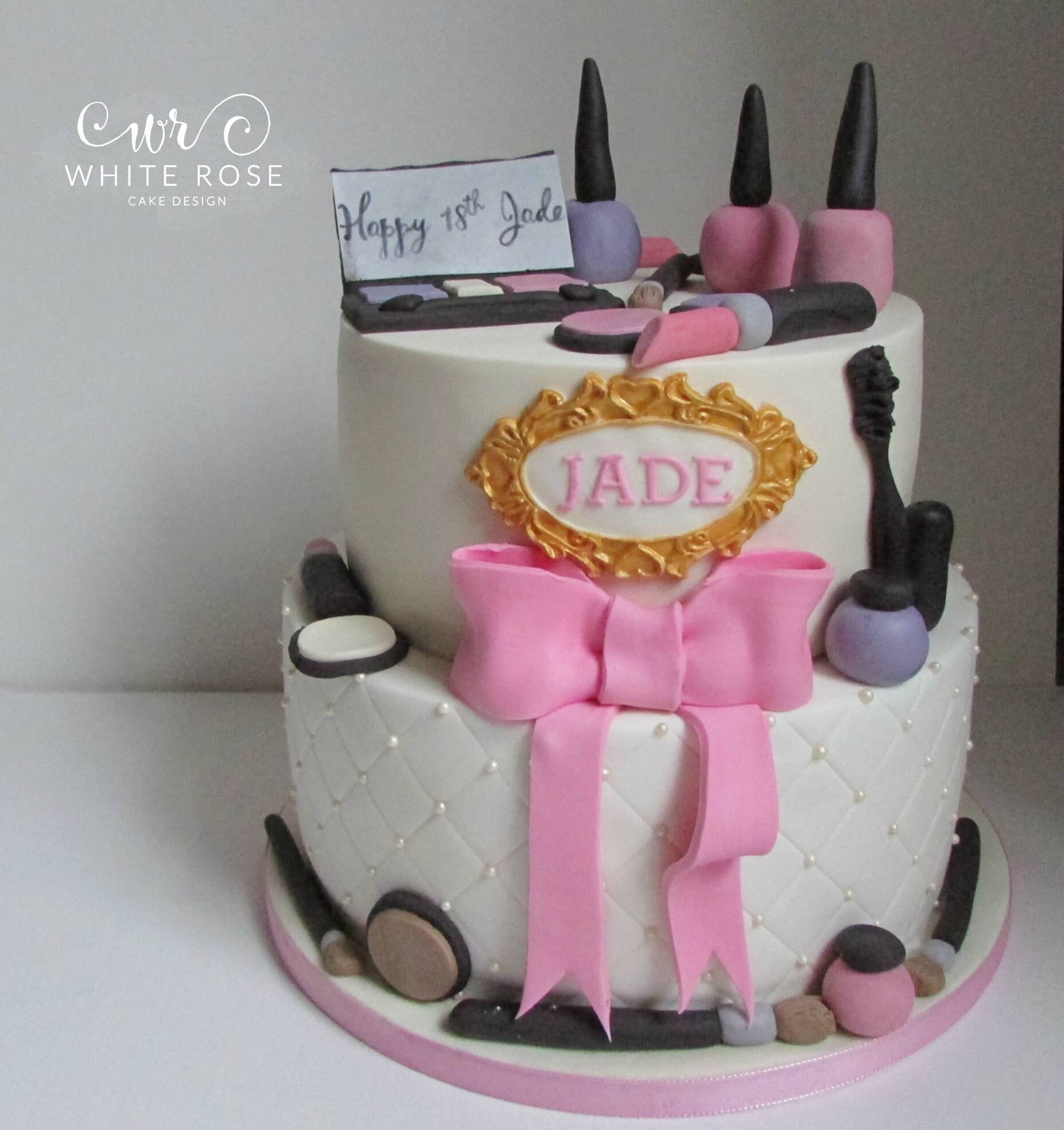 Two Tier Make Up Themed 18th Birthday Cake Huddersfield Cake Maker