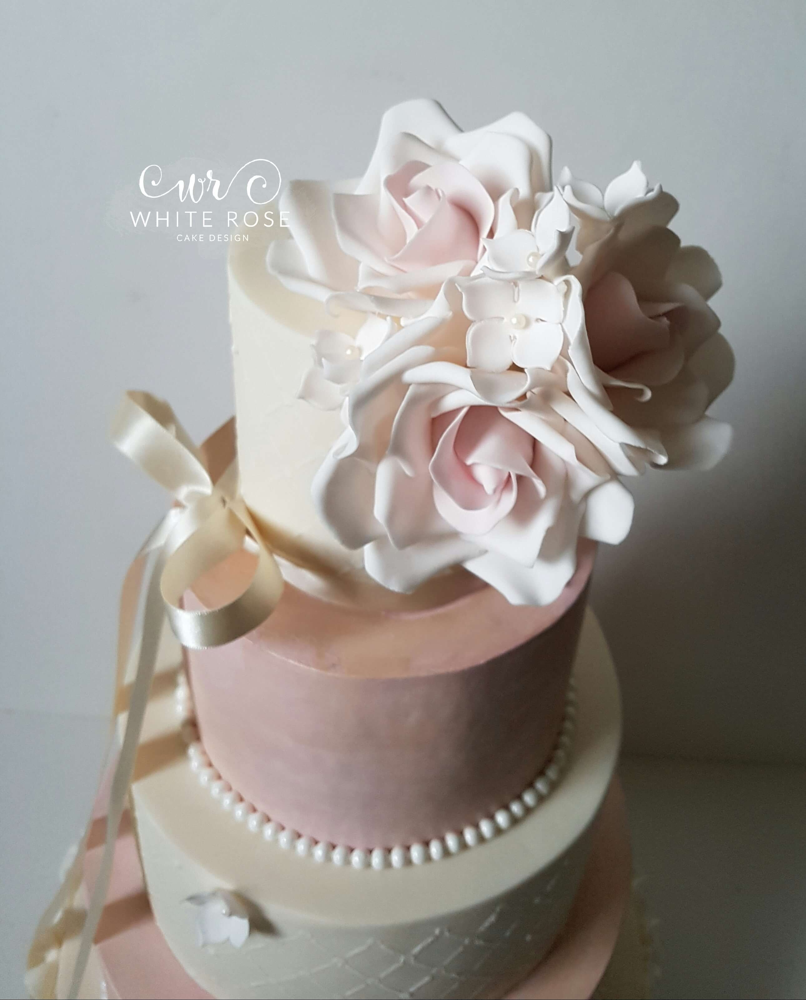 wedding cakes with ruffles and roses five tier pink and ivory ruffles wedding cake with blush 26113
