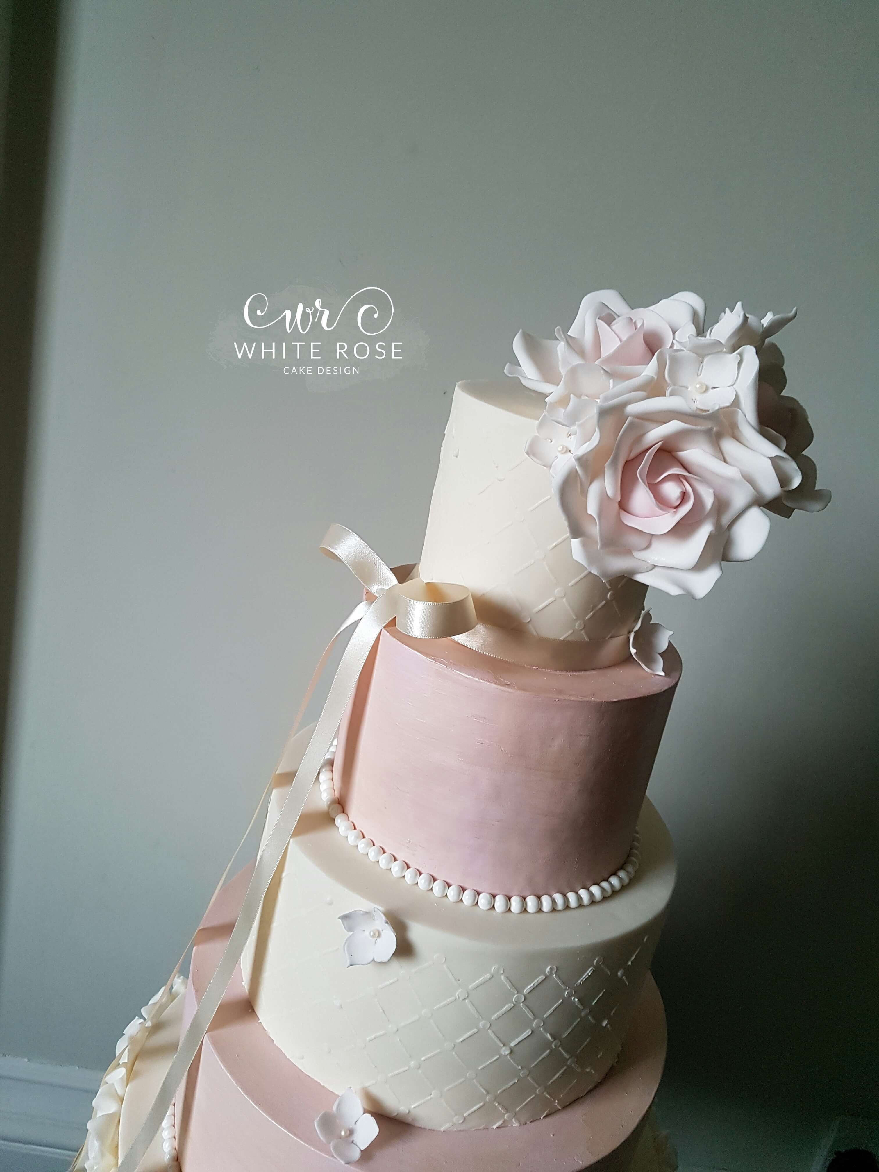 white wedding cake with blush roses five tier pink and ivory ruffles wedding cake with blush 27406
