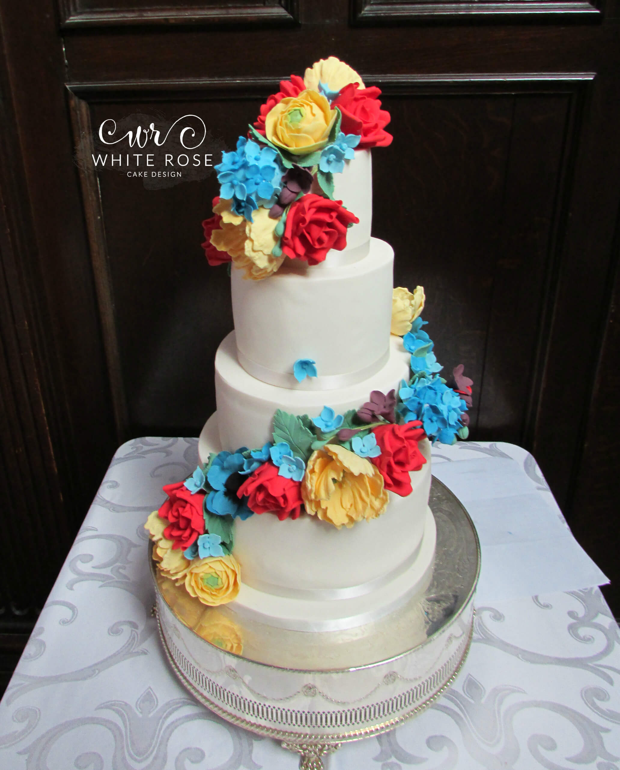 Rainbow Colours Wedding Cake By White Rose Design Cakes In West Yorkshire