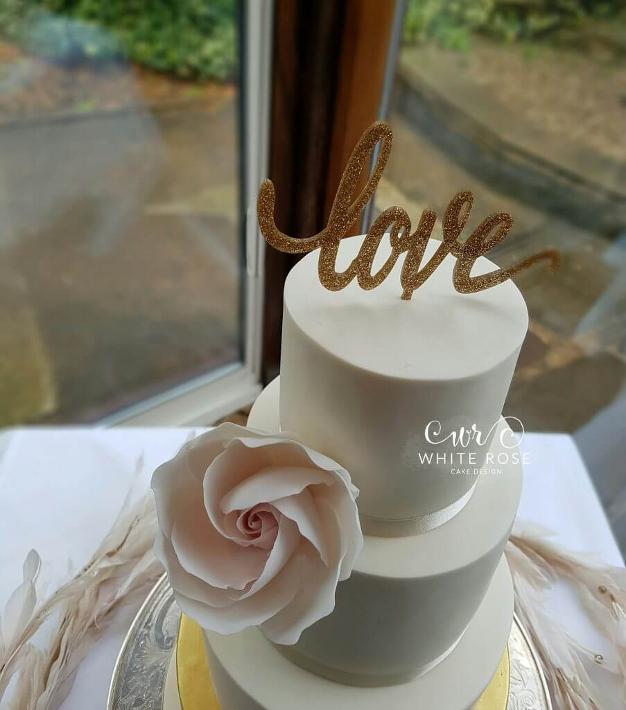 Ivory Gold and Blush Wedding Cake at Wentbridge House by White Rose Cake Design Bespoke Cake Maker in Holmfirth West Yorkshire