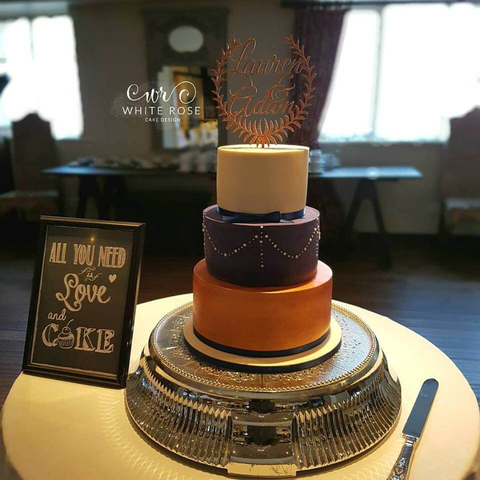Navy and Copper Wedding Cake by White Rose Cake Design, Wedding Cakes in West Yorkshire