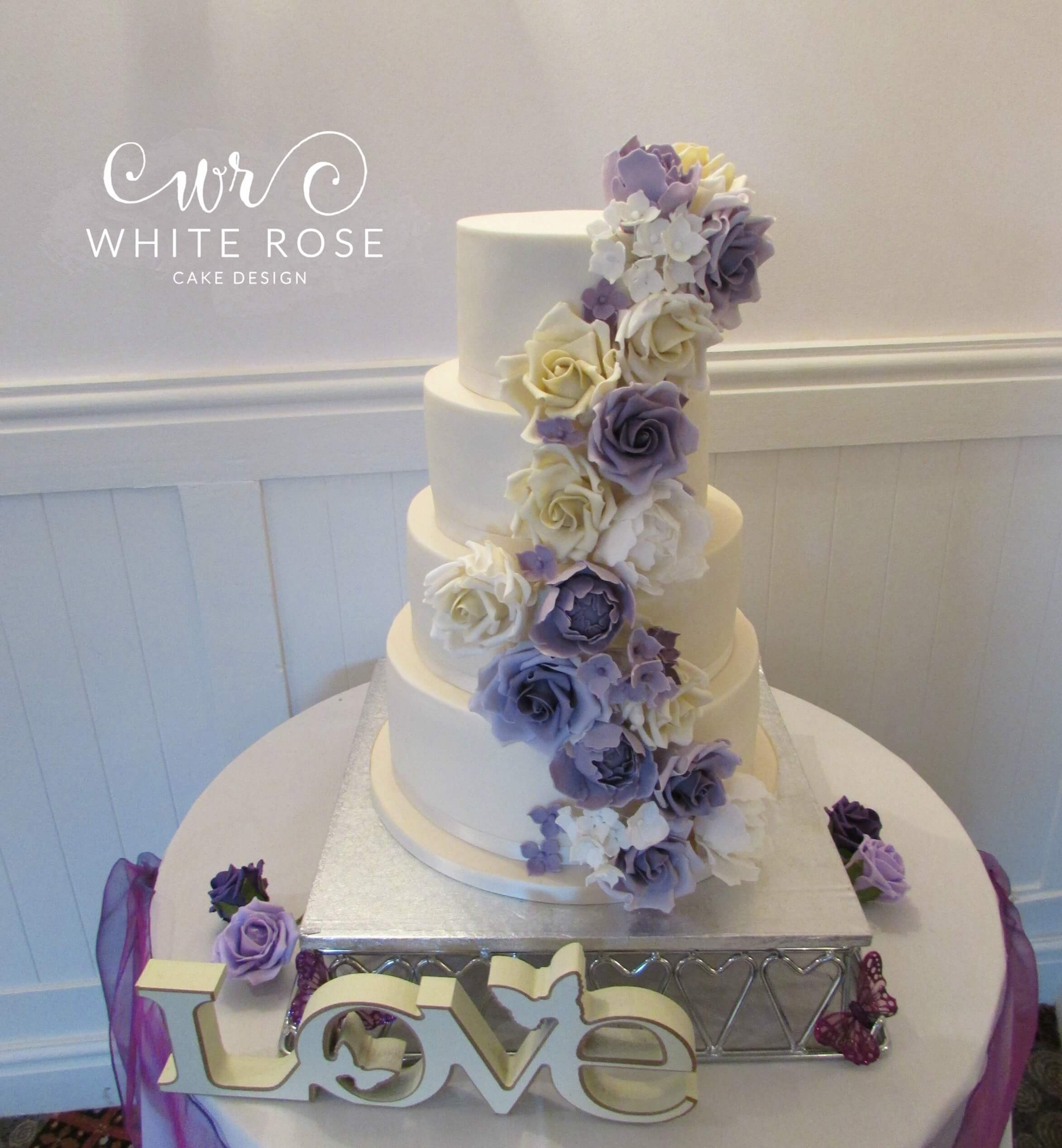 Floral Cascade Wedding Cake by White Rose Cake Design, Wedding Cakes in West Yorkshire
