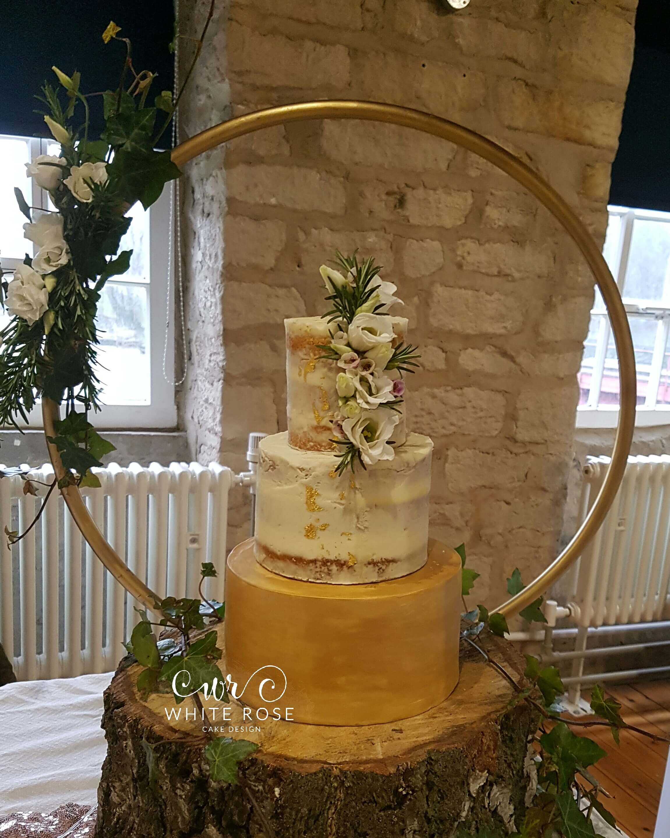 Semi Naked Wedding Cake with Edible Gold by White Rose Cake Design, Wedding Cakes in West Yorkshire