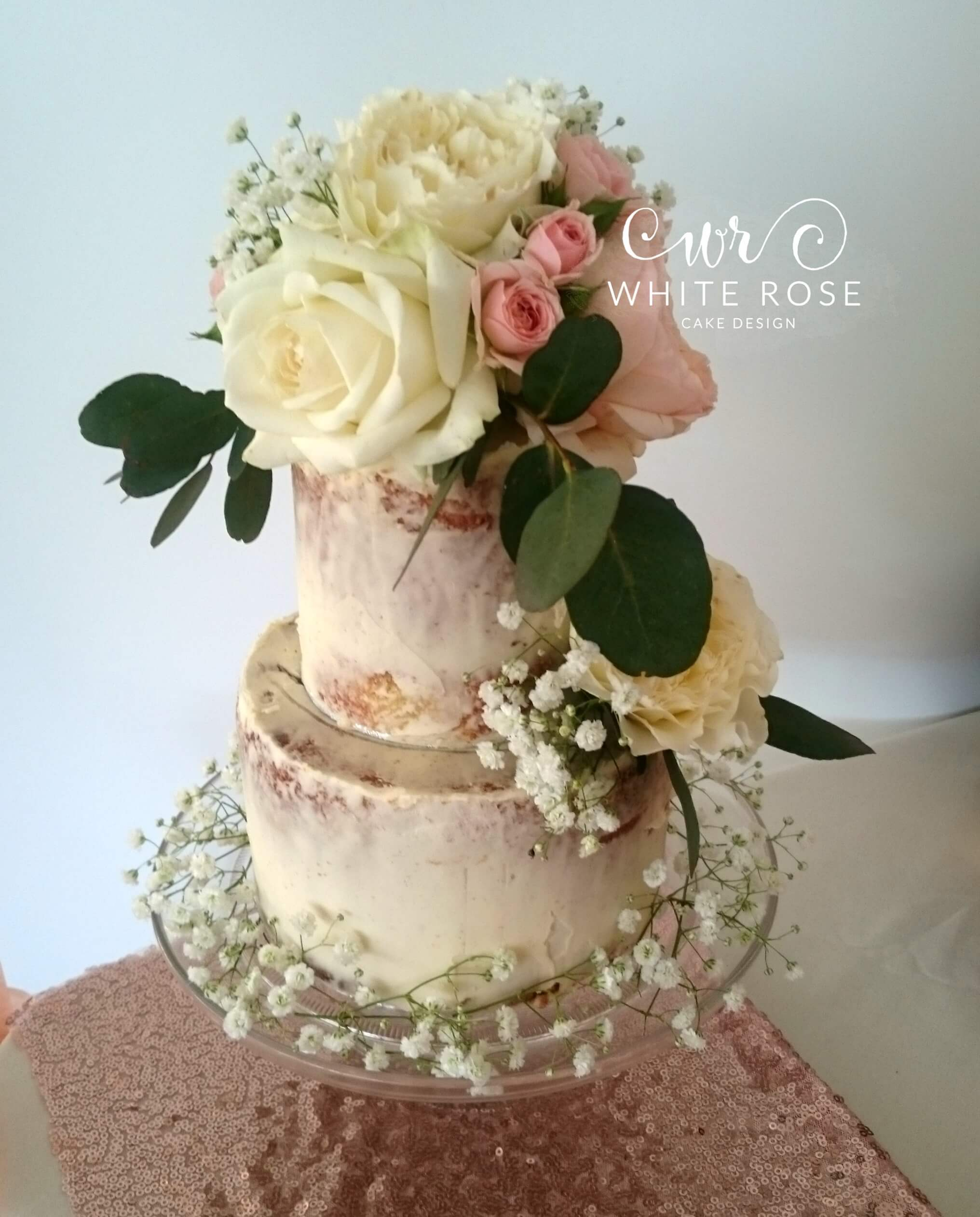 Semi-Naked Wedding Cake with Fresh Flowers by White Rose Cake Design, Wedding Cakes in West Yorkshire