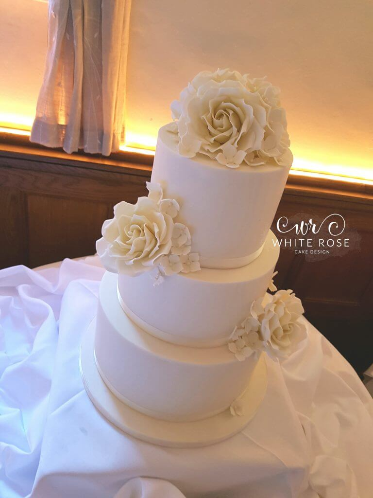 Ivory Roses Wedding Cake at Whitley Hall by White Rose Cake Design Bespoke Cake Maker in Holmfirth West Yorkshire