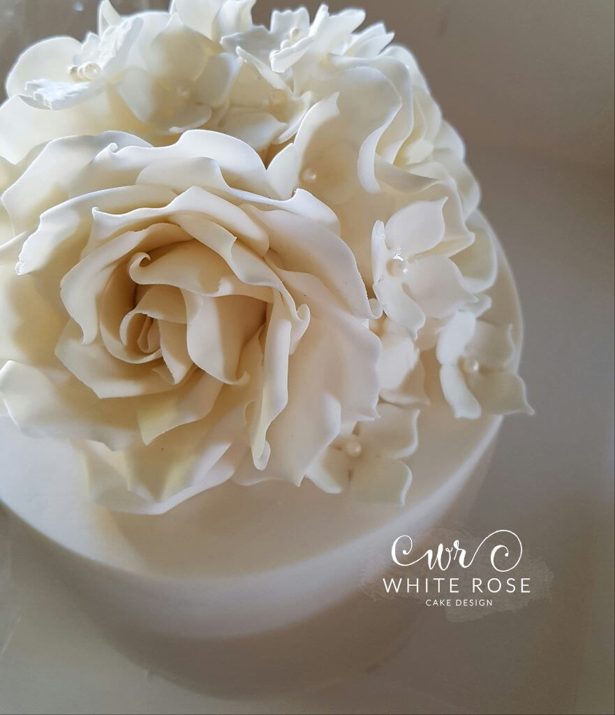 Ivory Roses Wedding Cake Topper Top Tier by White Rose Cake Design West Yorkshire Wedding Cakes Maker in Holmfirth