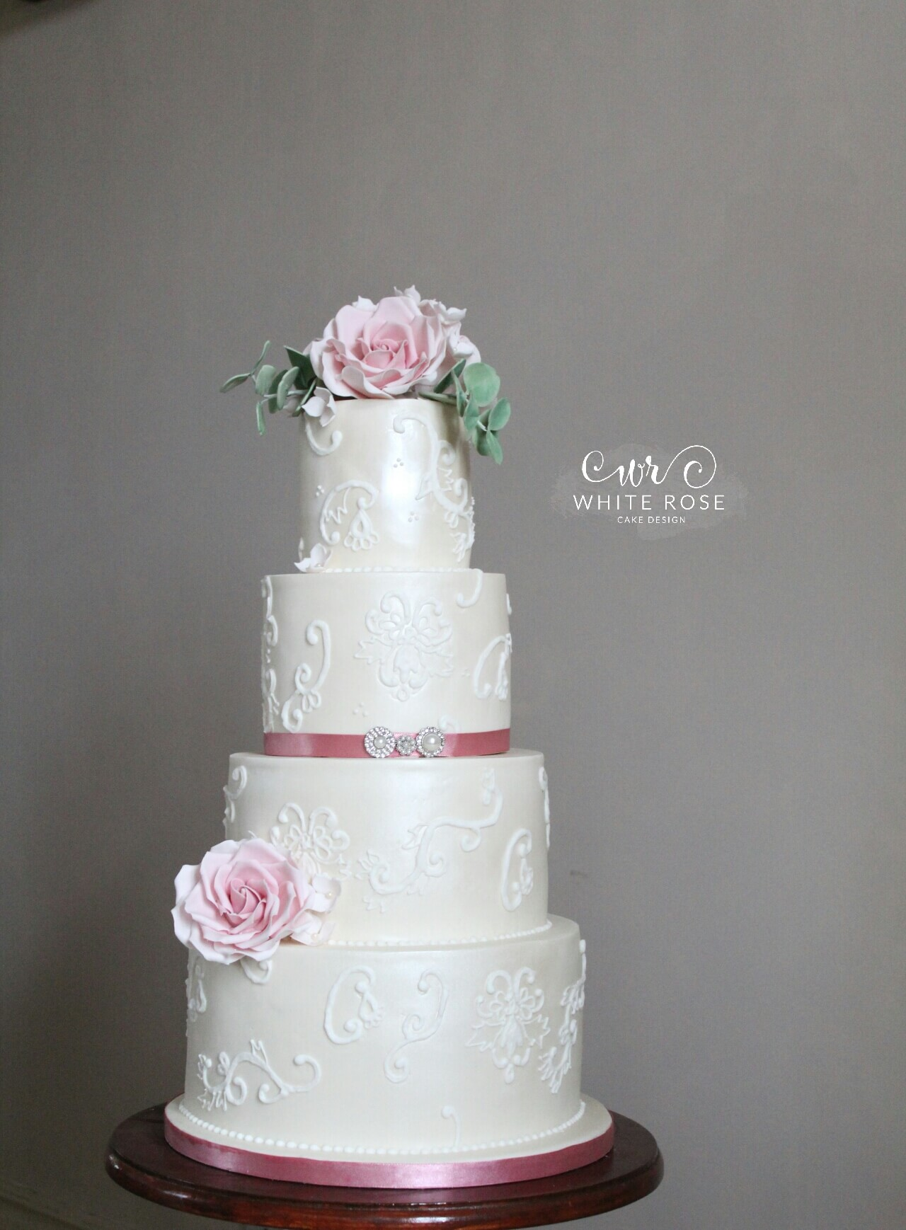 Dusky Pink Roses and Piped Lace Elegant Vintage 4 Tier Wedding Cake by White Rose Cake Design Wedding Cakes in Holmfirth, West Yorkshire, Leeds