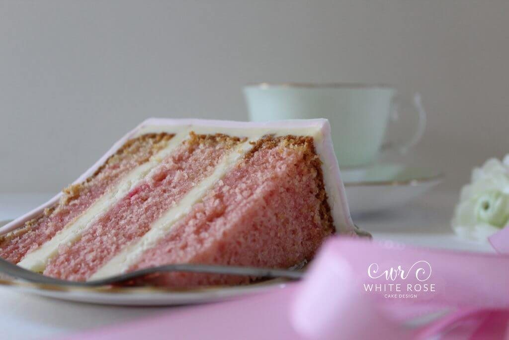 Slice of Pink Birthday Cake by White Rose Cake Design West Yorkshire Birthday Cake Maker