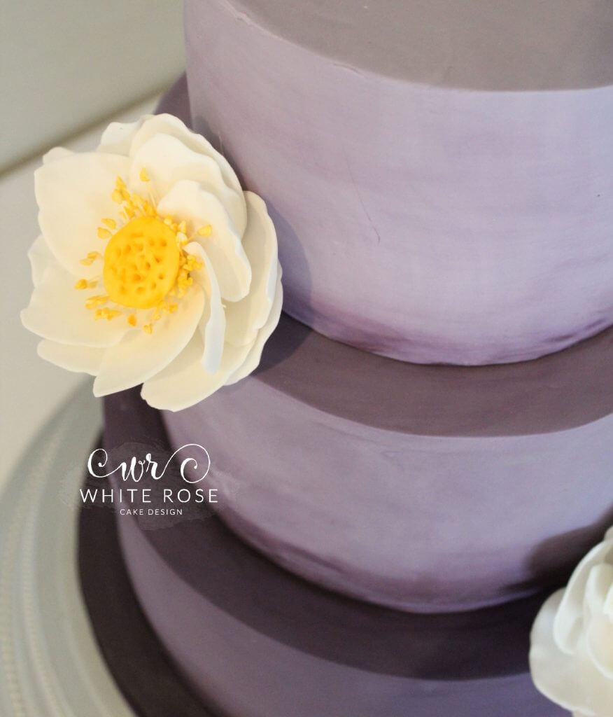 Purple Ombre Wedding Cake with Lotus Flowers by White Rose Cake Design in West Yorkshire, Bespoke Wedding Cakes in Huddersfield Holmfirth (1)
