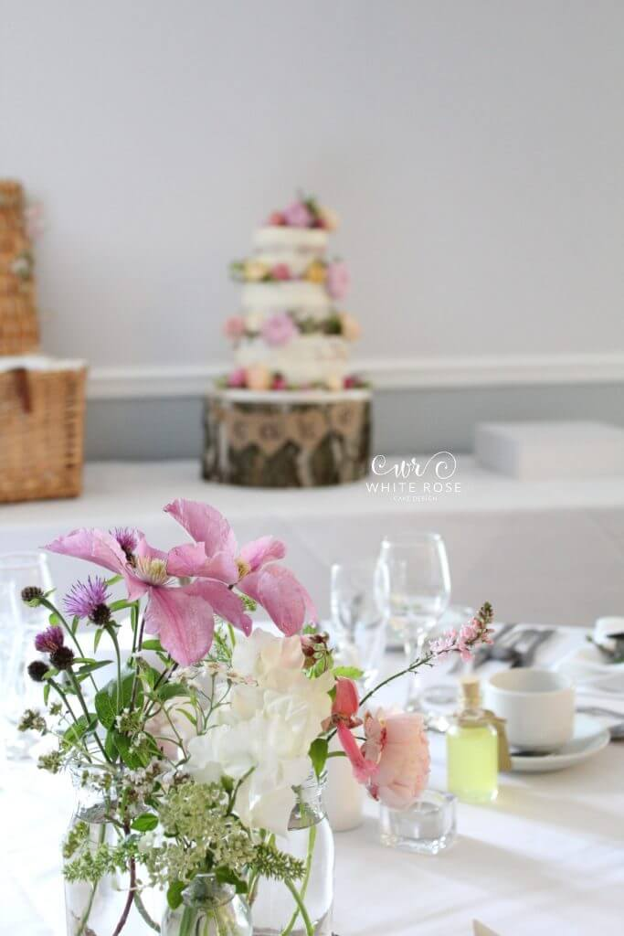 Floral Semi-Naked Wedding Cake with Fresh Flowers in Bright Colours at Durker Roods Hotel by White Rose Cake Design Wedding Cake Designer in Huddersfield Holmfirth West Yorkshire (1)