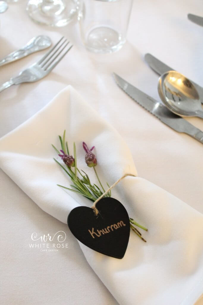 Lavender Place Name Card Slate Heart Rustic Style Wedding Decor Flowers from the Garden Styling White Rose Cake Design