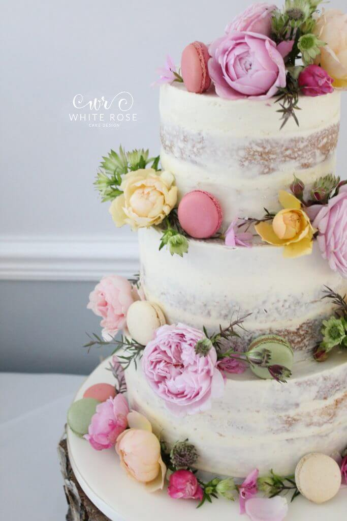Floral Semi-Naked Wedding Cake with Fresh Flowers and Macarons in Bright Colours at Durker Roods Hotel by White Rose Cake Design Wedding Cake Designer in Huddersfield Holmfirth West Yorkshire (3)