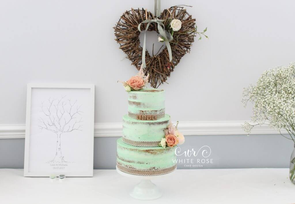 Mint Green Three Tier Semi-Naked Wedding Cake with Peach Flowers at Durker Roods Hotel by White Rose Cake Design Bespoke Wedding Cake Maker in Holmfirth, Huddersfield West Yorkshire (1)