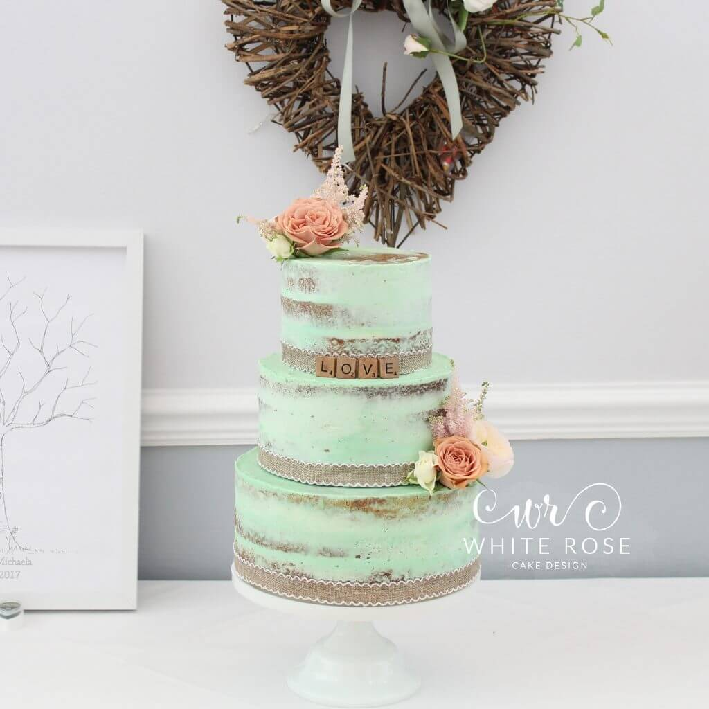 peach wedding cake design rustic mint and wedding cake at durker roods hotel 18143