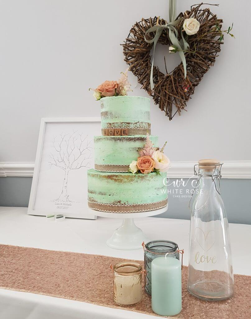 wedding cake peach and mint green rustic mint and wedding cake at durker roods hotel 23392