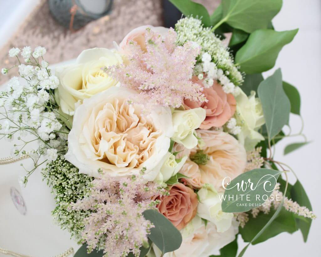 Mint Green and Peach Vintage Floral Display Bridal Bouquet by Woo B Woo at Durker Roods Hotel White Rose Cake Design Bespoke Wedding Cake Maker in Holmfirth, Huddersfield West Yorkshire (1)
