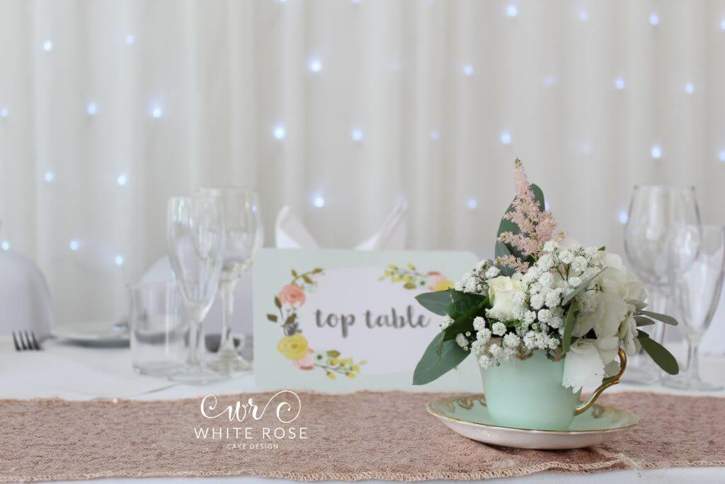 Mint Green and Peach Vintage Floral Tea Cup Decoration by Woo B Woo at Durker Roods Hotel White Rose Cake Design Bespoke Wedding Cake Maker in Holmfirth, Huddersfield West Yorkshire