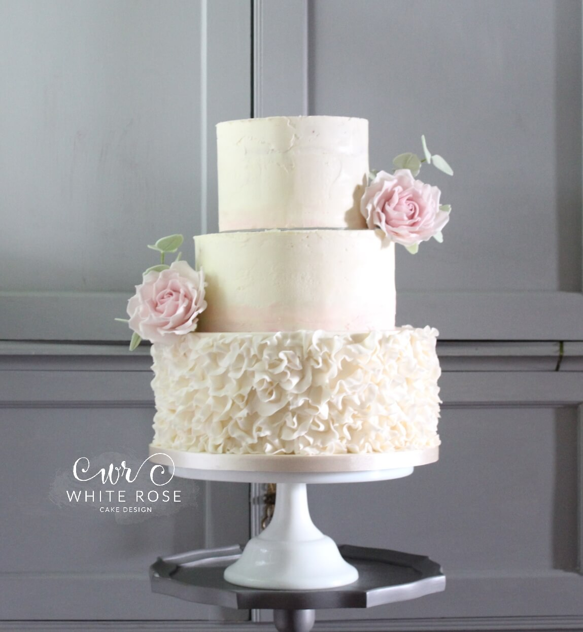 Dusky Pink Rose Wedding Cake