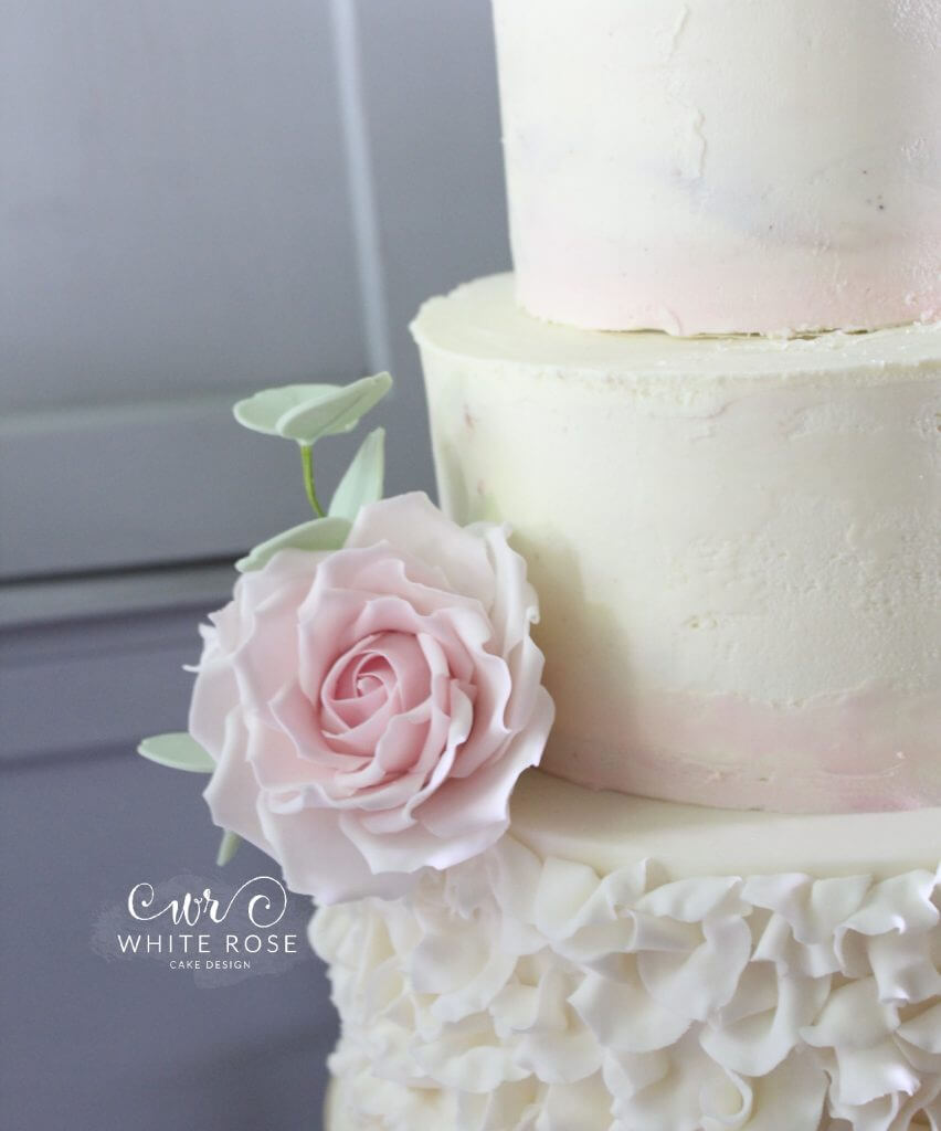 Three Tier Wedding Cake with Watercolour Ombre Pink Buttercream, Ruffles and Sugar Flowers by White Rose Cake Design in Huddersfield, Holmfirth West Yorkshire (2)