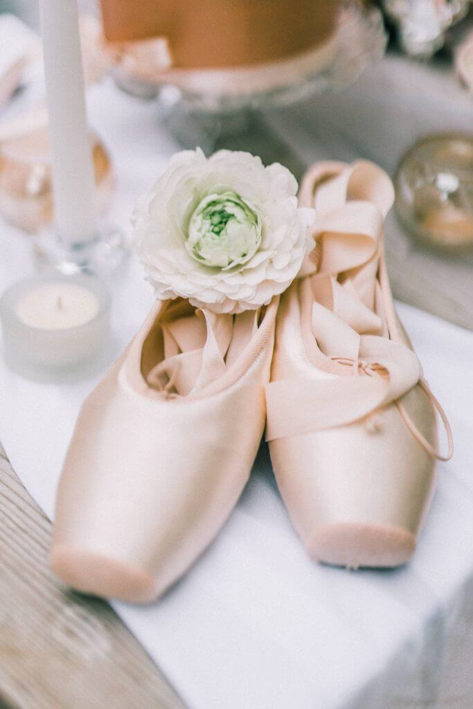 Blush and Copper Ballet Inspired Wedding Ideas and Decor White Rose Cake Design Bespoke Wedding Cakes in West Yorkshire