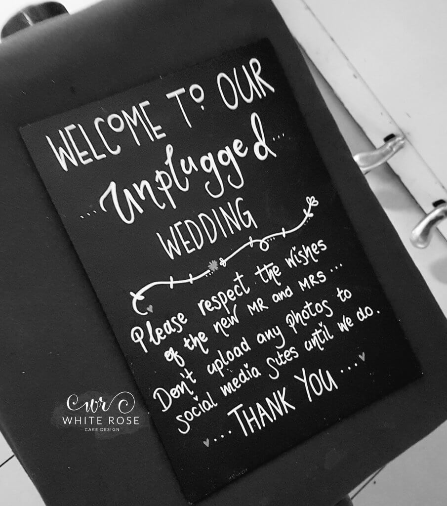Unplugged wedding no social media sign at The Craiglands Hotel