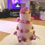 Hot Pink Bright Colourful Wedding Cake with Flowers and Macarons at The Craiglands by White Rose Cake Design Wedding Cakes West Yorkshire (2)