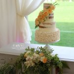 Four Tier Semi-Naked Wedding Cake with Ruffles and Fresh Peach Roses by White Rose Cake Design in West Yorkshire