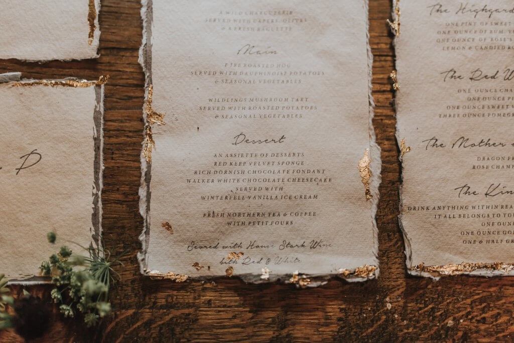 Menu Stationery Game of Thrones Inspired Wedding