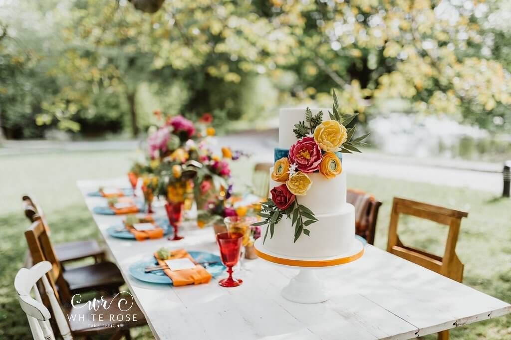 East Riddlesden Hall Wedding Cakes Photo by Caitlin + Jones Cake by White Rose Cake Design All Things Borrowed Oakleaf Weddings