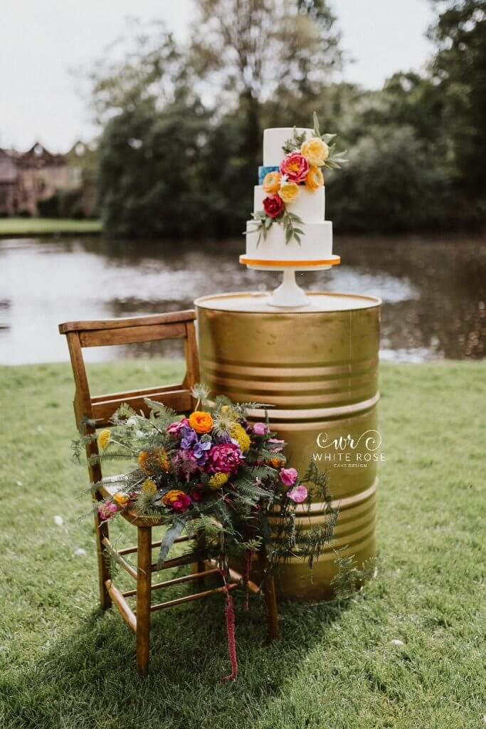 East Riddlesden Hall Wedding Cakes Photo by Caitlin + Jones Cake by White Rose Cake Design Flowers by Stems Design