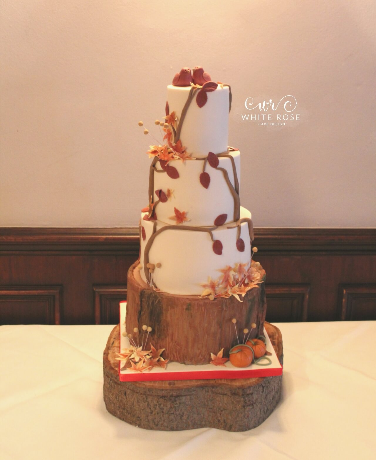 Autumnal Wedding Cake at Pennine Manor Hotel by White Rose Cake Design Wedding Cakes in West Yorkshire Holmfirth Huddersfield