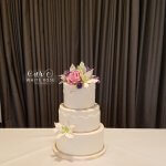 ilies and Roses Wedding Cake with Lace and Pearls by White Rose Cake Design West Yorkshire Wedding Cakes Holmfirth Huddersfield