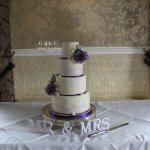 Purple Lace and Roses Four Tier Wedding Cake by White Rose Cake Design at Waterton Park Wedding Cakes West Yorkshire Huddersfield Holmfirth