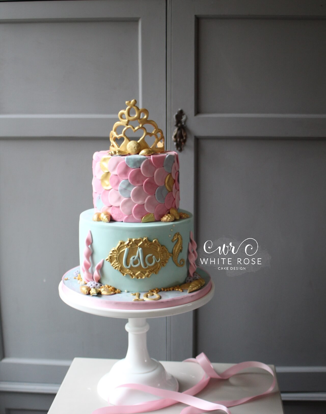 Princess Mermaid Themed Birthday Cake by White Rose Cake Design
