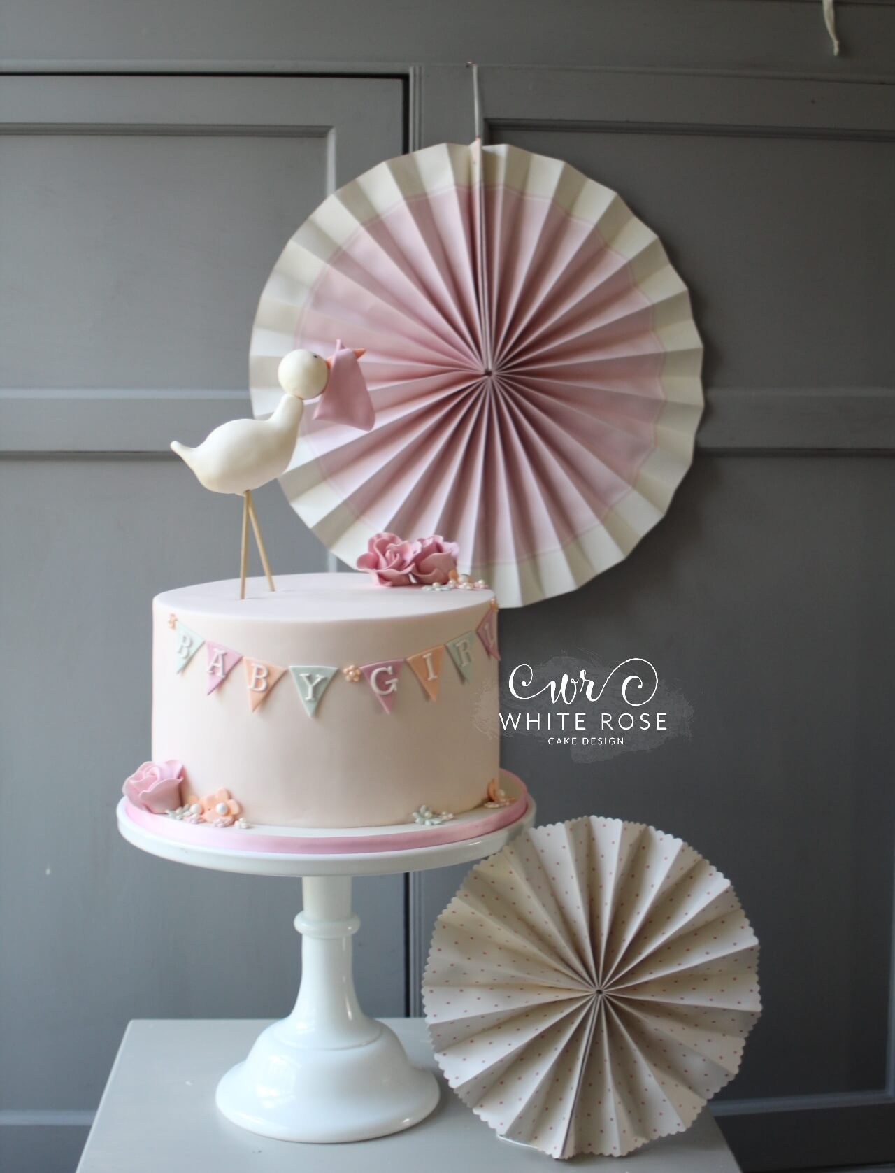 Stork and Bunting Baby Girl Baby Shower Cake by White Rose Cake Design