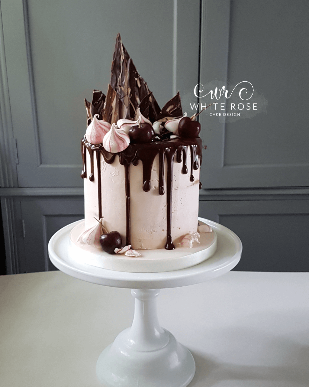 Chocolate and Cherries Drippy Birthday Cake by White Rose Cake Design in West Yorkshire