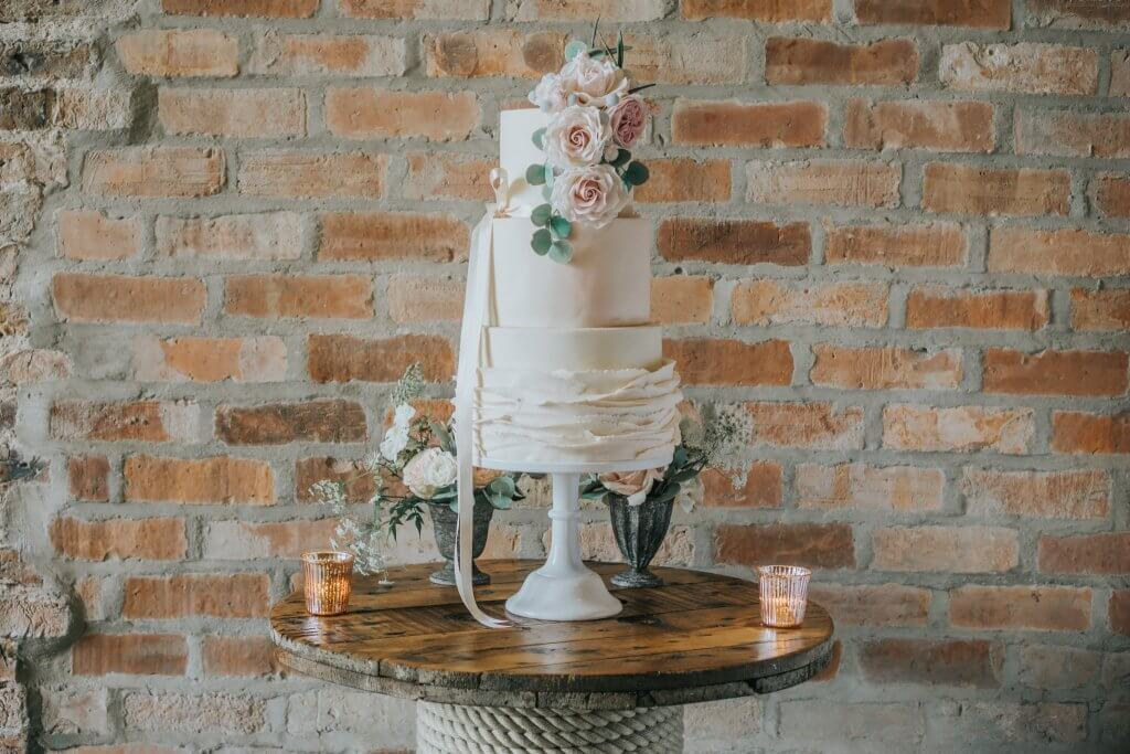 Country Luxe Wedding - White Rose Cake Design West Yorkshire Cake Maker - Stewart Barker Photography Ruffles Wedding Cake