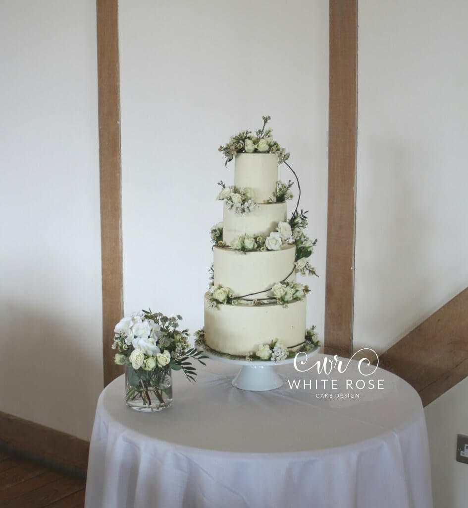 Rustic Fresh Floral Wedding Cake by White Rose Cake Design at Sandburn Hall Yorkshire Cake Maker